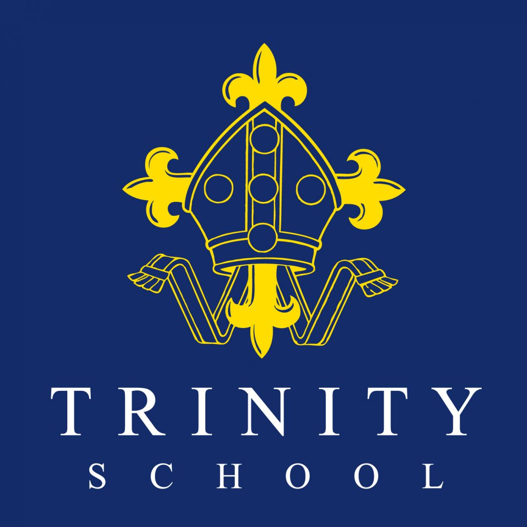 Trinity School logo yellow crest white letters on blue RGB